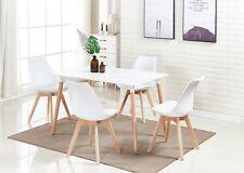 Rettangolare Tavolo da Pranzo e Set di 4 Sedie Tulip Pranzo Sala Soggiorno Bianc