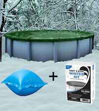 NO RESERVE    18' Above Ground Winter Pool Cover + 4'x4' Air Pillow + Winter Kit