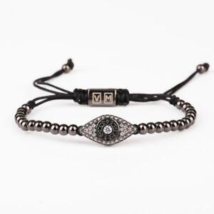 Men And Women Beads Bracelet Evil Eye Inlaid White Zircons 24k Black Gold Plated