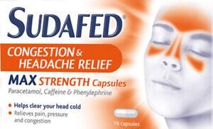 Sudafed Congestion & Headache Relief Max Strength – 16 Capsules