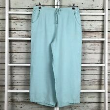 CP Shades Wide Leg Culottes Pants LARGE Crop Ankle Blue Green Lagenlook Linen