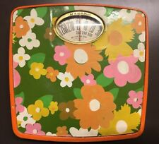 Hanson 1960s 70S Vintage BATHROOM SCALE Mod FLORAL GREEN YELLOW ORANGE Prop