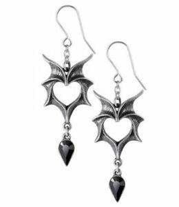 Alchemy England - Love Bats Droppers, Earrings, Heart Wings, Gothic Punk, Gift