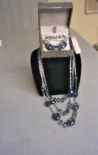 NWT K. Cole Sapphire BlueCrystals Bracelet Original Box w/Matching Necklace!