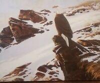 "JAMES ""JIM"" MORGAN. Original Nature Wildlife Scene/Eagle 20x16 Canvas *signed*"