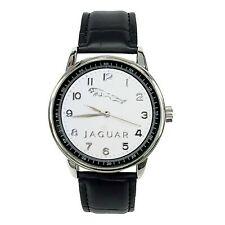 JAGUAR Mens Stainless Steel WHITE Dial BLACK Leather Strap Sport CAR Watch