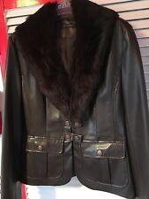 Escandelle faux Leather brown Jacket - Detachable Fur Collar - L