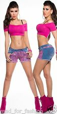 Sexy Hot Denum Shorts Pants With Lace and Rhinestones. 2 COLORS
