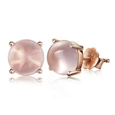 Rose Gold Plated Round Shape Rose Quartz Stud Earrings Womens Wedding Jewelry