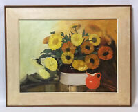 Large Beautiful Painting Oil On Board~Bouquet of Flowers~Yellow~Signed~Framed