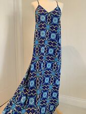 TOPSHOP Blue Maxi Dress Strappy Uk Size Small Holiday Beach