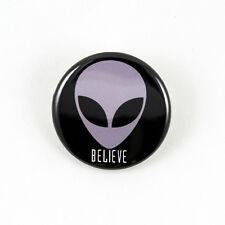 Alien Head Believe - 1 1/4 Inch Pinback Button - x-files sci-fi grey pop culture