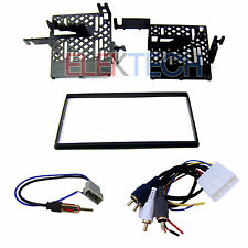 Radio Replacement Dash Mount Kit 2-DIN w/Amp Retain Harness/Antenna for Nissan