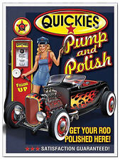 quickies pump and polish, retro vintage style metal sign/plaque shed garage