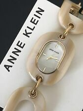 Anne Klein AK/2674HNGB Horn Resin Gold Tone Bracelet Oval Watch Mother of Pearl