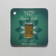 0.025 (1/40) GRAM GOLD BAR FROM NZP GOLD 999.9 PURE