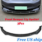 Carbon Fiber Look Style Front Bumper Lip Spoiler For 16-19 Tesla Model 3 Sedan