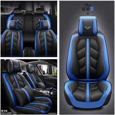 Deluxe 5D Car Seat Cover PU Leather Front & Rear Seat Cushion Protector Set Blue
