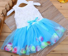 Toddler Baby Girls Clothing Princess Blue Skirt Tutu Bowknot Flower Dress 6-12M