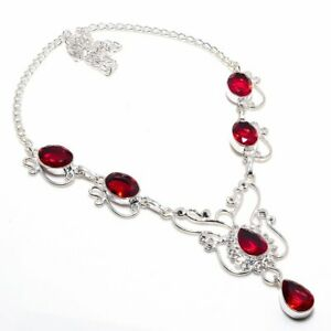 "Grossular Garnet Gemstone Handmade 925 Sterling Silver Jewelry Necklaces Sz 18"""
