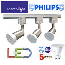 SEARCHLIGHT SILVER TRACK LIGHTING KIT SPOTLIGHTS 3 X PHILIPS 5 WATT LED GU10