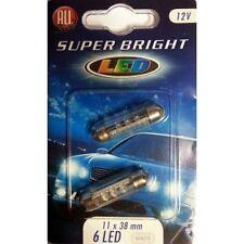 Lot De 2 Ampoules Navette 6 Led 12v 11x38mm Blanc