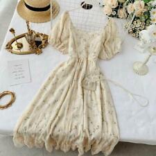 Lady Floral Tea Dress Puff Short Sleeve Mesh Ruffle Retro Lace Fashion Elegant