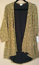 NWT LuLaRoe Lindsay Kimono Jacket Gold Flowers Size L Large Very Nice Quality