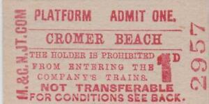 Midland & Great Northern JOINT Railway Platform Ticket CROMER BEACH 2957