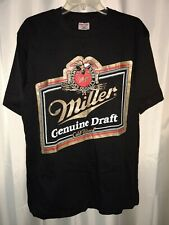 Vtg Miller Genuine Draft Ss dbl sided T-Shirt Black Adult (L) Rare Beer Logo 80s
