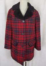 Vintage Pendleton '49ers Quilted Insulated Wool Plaid Mouton Fur Coat Womens S M