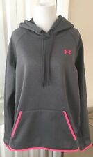 """Under Armour Size Large Hoodie Sweatshirt """"STORM"""" Gray Pullover Pink Logo UA"""