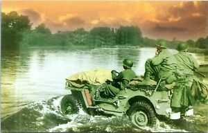 45th Infantry Jeep Crosses the Moselle River WW2 Military Chrome Postcard 124