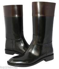$1395 YSL SAINT LAURENT CAVALIERE CLASSIC BLACK BROWN LEATHER ZIP BOOTS 36.5