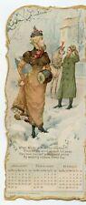 RARE LARGE U.S. RUBBER CO. 1889 CALENDAR TRADE CARD 4 PANEL FOLDER GREAT POEM