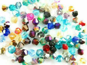 500pcs 4mm Charm Bicone Crystal Glass Loose Beads DIY Jewelry Bracelet Making