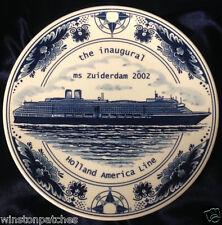 HOLLAND AMERICA LINE MS ZUIDERDAM 2002 INAUGURAL PLATE ROYAL GOEDEWAAGEN  DELFT