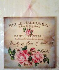 Vintage Paris Shabby Roses Postcard Plaque Wall Decor Sign French Country Chic