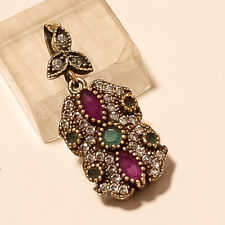 Real Red Ruby Emerald Pendant 925 Sterling Silver Two Tone Engagement Jewelry AA