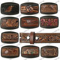 Mens Big Sizes Genuine Leather Pattern Designed Press Stud Removable Buckle Belt