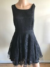 Lipsy Ladies Sleeveless Lace, Net, Satin Lined Little Black Dress, Waist 30""