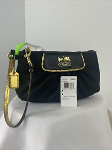 New Coach Wristlet Bag Amanda Satin Leather Evening Zip 42032 B15