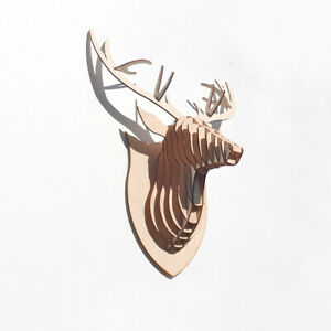 3D Stag Head - 3D Wall Art Trophy Wooden 4mm Ply Wall Art Display