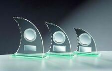 10 Glas-Trophäen Segel - Wellenschliff 17cm #11 (Glaspokale Pokal Gravur Pokale)