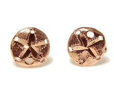 SOLID 14K ROSE GOLD HAWAIIAN DIAMOND CUT SAND DOLLAR STUD EARRINGS SMALL 9MM