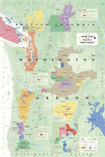 Wine Map Of The Pacific Northwest Poster Print, 24x36
