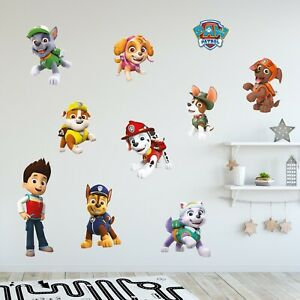 Paw Patrol Wall Sticker - Large Group Wall Decal Set Kids Bedroom Mural Art