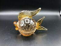 """Vintage Murano Art Glass Amber Fish w/Bubbles Paper Weight Figurine, 3 1/4"""" Tall"""
