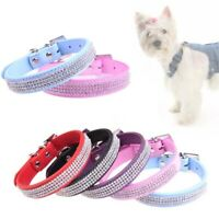 Crystal Diamante Dog Cat Puppy Soft Collar PU Leather Rhinestone Safety Band