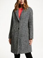 New Jon Lewis WEEKEND Moxie Herringbone Cocoon Coat, Navy Grey, UK 8, RRP £150
